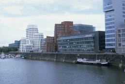 Der Neue Zollhof in Dusseldorf, Germany by architect Frank Gehry