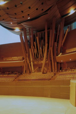 Walt Disney Concert Hall in Los Angeles LA California by architect Frank Gehry photographed by Larry Speck. Interior and Exterior views.
