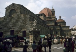 San Lorenzo in Florence, Italy by architects Antonio di Manetti, Michelangelo Buonarroti