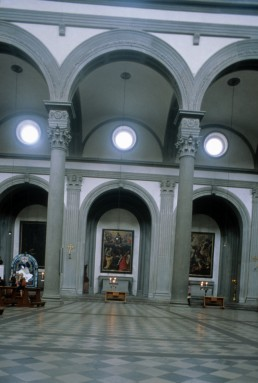 San Lorenzo in Florence, Italy by architects Antonio di Manetti, Michelangelo Buonarroti