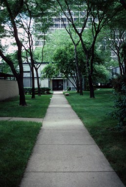Lafayette Park in Detroit, Michigan by architect Ludwig Mies van der Rohe