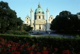 Saint Charles's Church (Karlskirche) in Vienna, Austria by architects Gaetano Fanti, Johann Bernhard Fischer von Erlach, Joseph Emanuel Fischer von Erlach, Johann Michael Rottmayr, Daniel Gran, Ferdinand Maximilian Brokoff