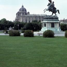 Erzherzog Karl Statue, Kunsthistorische Museum in Vienna, Austria by architects Gottfried Semper, Karl Freiherr von Hasenauer