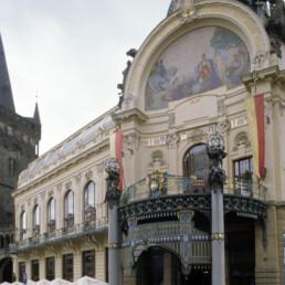 Municipal House in Prague, Czechia by architects Alfons Mucha, Frantisek Kraumann, Max Svabinsky, Frantisek Zenisek, Bohumil Kafka, Josef Vaclav Myslbek