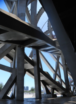 INTERIOR DETAIL BLUE SKY Herzog de Meuron Beijing National Stadium Bird's Nest