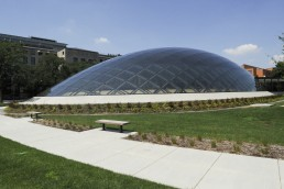 University of Chicago, Joe and Rika Mansueto Library in Chicago, Illinois by architects Helmut Jahn, Murphy Jahn Architects