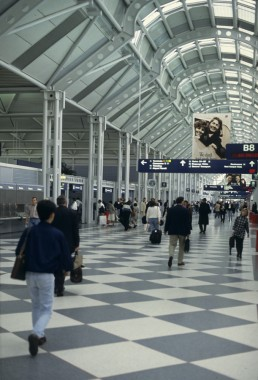 Chicago O'Hare International Airport United Airlines Terminal in Chicago, Illinois by architect Helmut Jahn