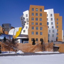 Ray & Maria Strata Center in Cambridge Massachusetts by Architect Frank Gehry photographed by Larry Speck on a clear day with snow. Interior and Exterior.