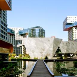 Exterior Blue Sky Sun Stephen Holl Linked Hybrid Beijing Housing